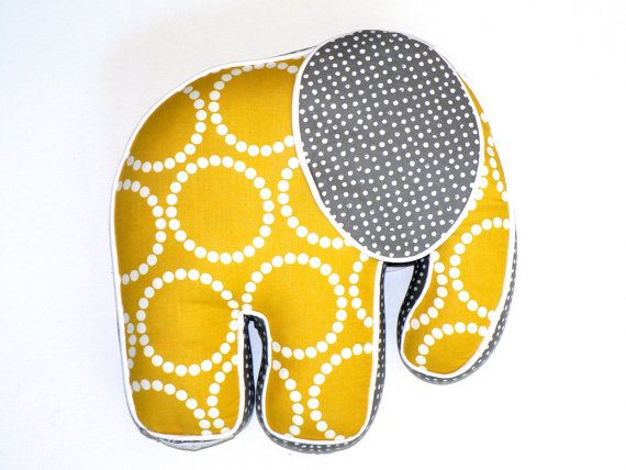 Elephant Pillow Yellow White Gray Nursery Crib by CecilClyde, $62.50
