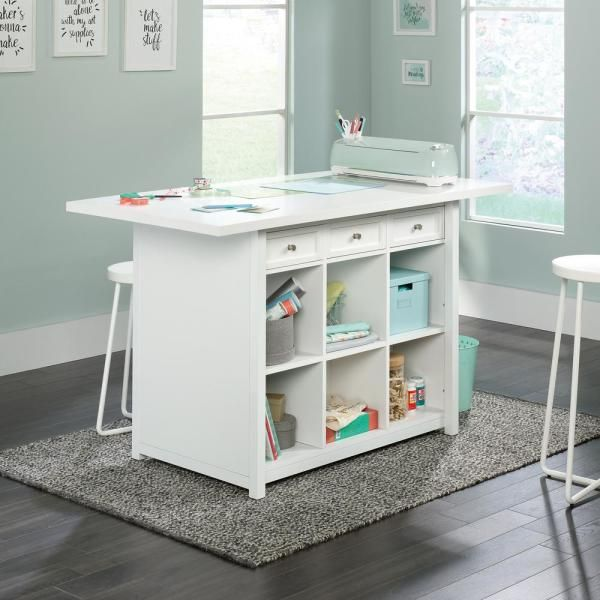 Homevisions White Work Table 425034 The Home Depot Craft Room Tables Craft Tables With Storage Craft Room Design