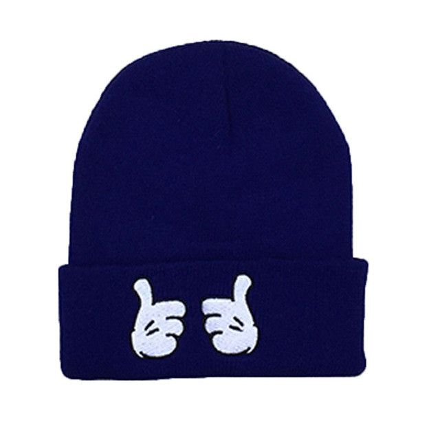 Novelty Cute Finger 3D Print Acrylic Knit Beanie Wool Women Men Turban Polo Beanies Bonnet M0620