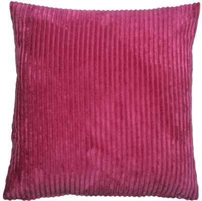 Wide Wale Corduroy 18x18 Magenta Pink Throw Pillow