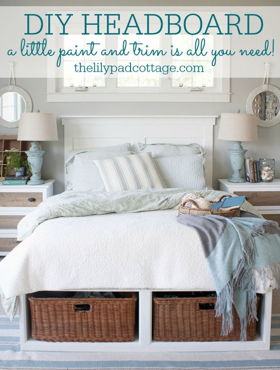 DIY Headboard.  Love this idea, create a headboard using just trim and paint.