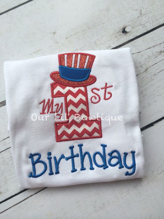 4th of July Birthday -  My 1st Birthday Shirt - First 4th of July - Fourth of July Birthday -  by OurLilBowtique
