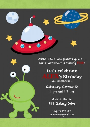 Outer Space themed Birthday Party Invitation