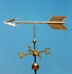 Traditional Arrow Weather Vane by West Coast Weather Vanes. This handcrafted Arrow weathervane can be custom made using a variety of metals and accents.