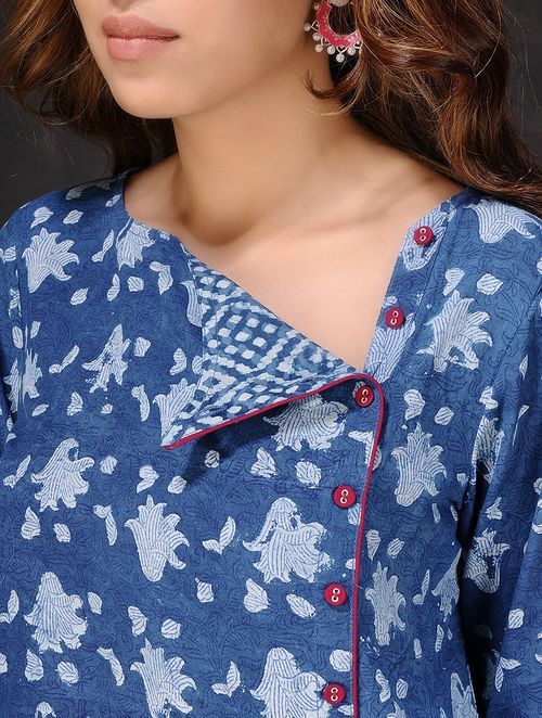 Indigo-White Natural-dyed Dabu-printed Cotton Kurta by Jaypore
