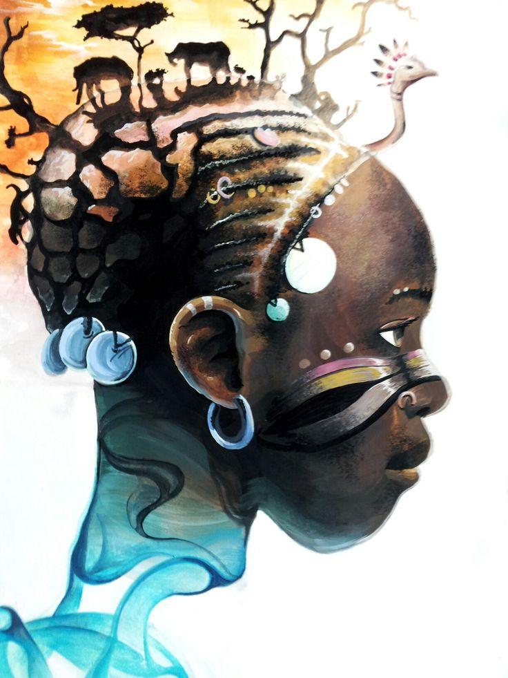 아프리카 동물 얼굴 연기