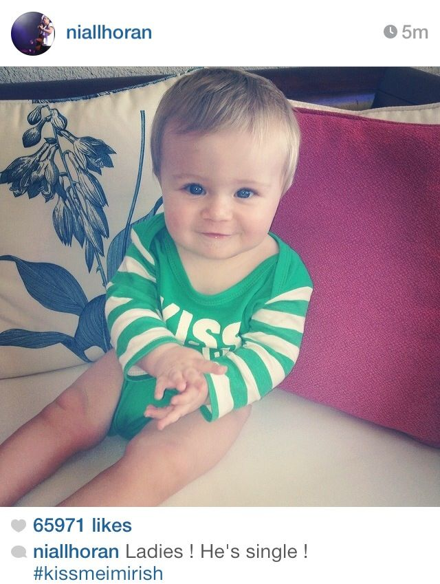 I showed this pic to my sister and she all like oh that's a cute baby!!!! I said yeah it's Niall's nephew! And she have me this r u kidding me look and said nope he's not cute anymore!!!! Dang sis I have a lot to teach u!!!