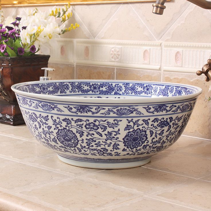 Blue And White Vessel Sink : ... vessel sink white ceramics bathroom sinks alibaba group blue and white