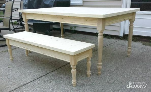 diy farmhouse table bench for 150 tutorial, how to, outdoor furniture, painted furniture