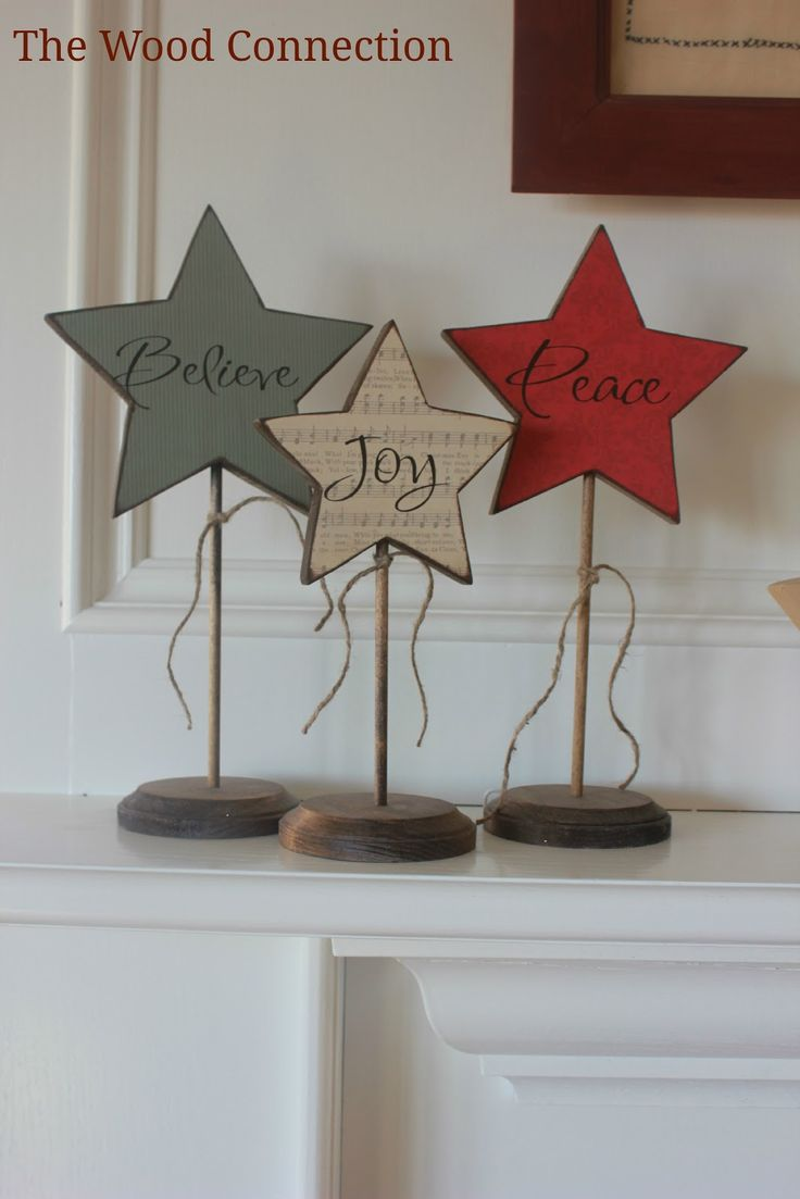 I want to make these a DIY - for swappable decor in the house for the seasons. I love it! The Wood Connection-Love these stars