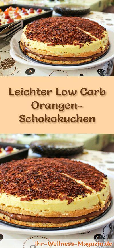 Rezept für einen leichten Low Carb Orangen-Schokokuchen: Der kohlenhydratarme Kuchen wird ohne Zucker und Getreidemehl gebacken. Er ist kalorienreduziert, ...