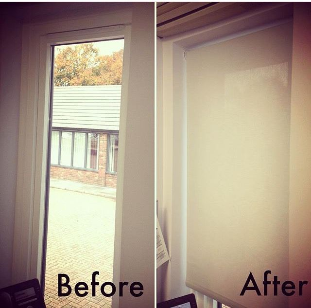 Before & after photos of some roller blinds that were made & fitted for a large office space! #rollerblinds #bespoke #office #interior