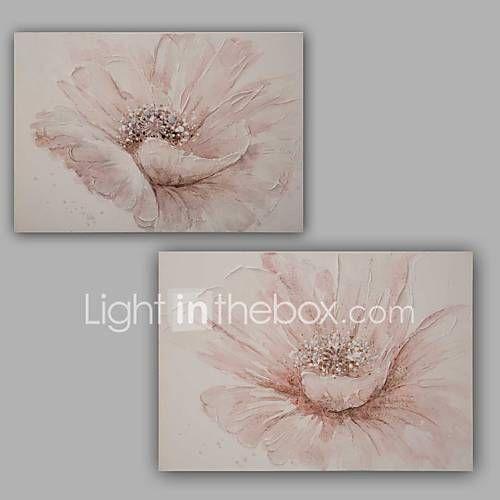 Pictat manual Abstract / Floral/Botanic Picturi de ulei,Modern / Clasic Două Panouri Canava Hang-pictate pictură în ulei For Pagina de 5390587 2017 – €141.22