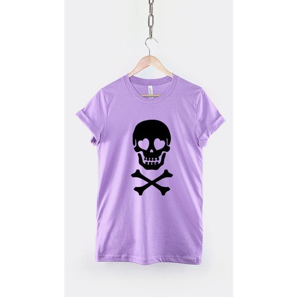 Skull and Crossbones Heart Eyes Pastel Goth Shirt Pastel Goth Clothing... ($17) ❤ liked on Polyvore featuring tops, t-shirts, purple, women's clothing, pattern t shirt, grunge t shirts, gothic t shirts, pastel pink shirt and purple t shirt