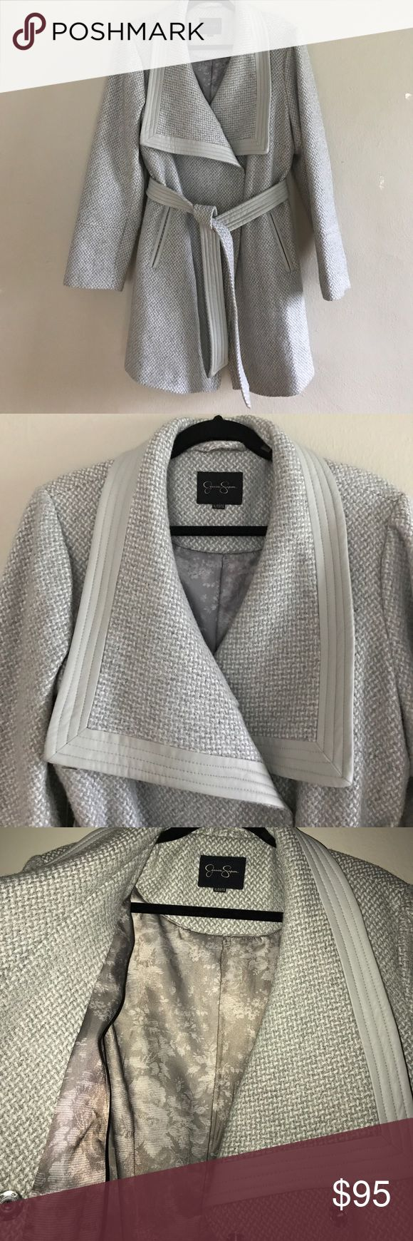 Pale Gray Jessica Simpson pea coat Beautiful woven Jessica Simpson pea coat. Light gray colored, polyester lining detail on collar, pockets and belt. Eyelet buttons. Jessica Simpson Jackets & Coats Pea Coats