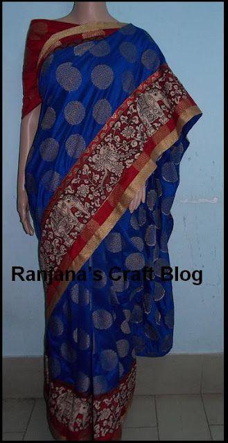 Ranjana's Craft Blog: Saree design- with Kalamkari border
