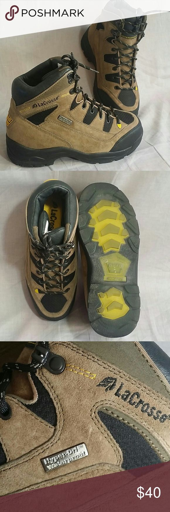 LaCrosse work Boots Waterproof safety toe 7 M Women's LaCrosse Work Boots Waterproof Hyper-Dri  QUAD COMFORT, Safety Toe Size 7 M Lace up Leather Item is in a good condition. LaCrosse Shoes Combat & Moto Boots