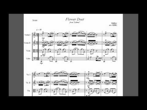The Song I Will Walk Down Aisle Too Flower Duet From Lakme Delibes String Quartet Free Sheet Music