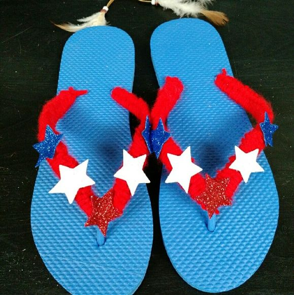 Designed Red.White and Blue Flip Flops Handmade flip flops..crochet.. With stars..new. Shoes Flats & Loafers