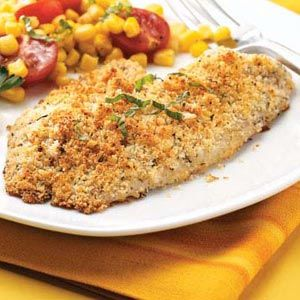 Baked Tilapia.  3/4 c soft bread crumbs, 1/3 c grated Parmesan cheese, 1 t garlic salt, 1 t dried oregano