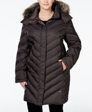 Kenneth Cole Plus Size Faux-Fur-Trim Chevron Quilted Down Puffer Coat  - Gray 1X