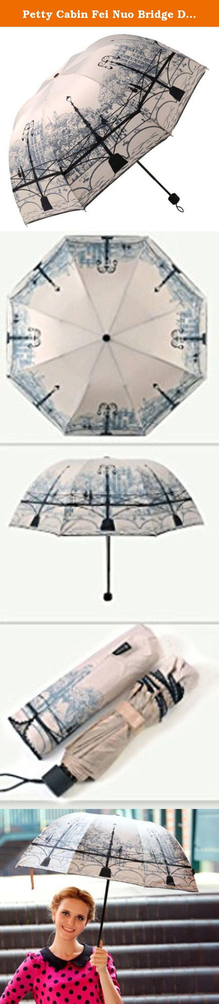 Petty Cabin Fei Nuo Bridge Design Elegant Anti-UV Sun Umbrella Triple Folding UV Protected Parasol (Beige). Triple folding anti-UV umbrellas. Delightful style and the colors beautiful. Perfect for fanciful occasions like weddings and garden parties. It is lightweight and folds to a size that will easily fit into your handbag. Definitely a Must Have under the bright sun. Package: 1* Petty Cabin Fei Nuo Bridge Design Elegant Anti-UV Sun Umbrella Triple Folding UV Protected Parasol Notice…