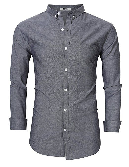 e435a0fb86d Men s Casual Slim Fit Button Down Dress Shirt Long Sleeve Solid Oxford Shirt  Grey