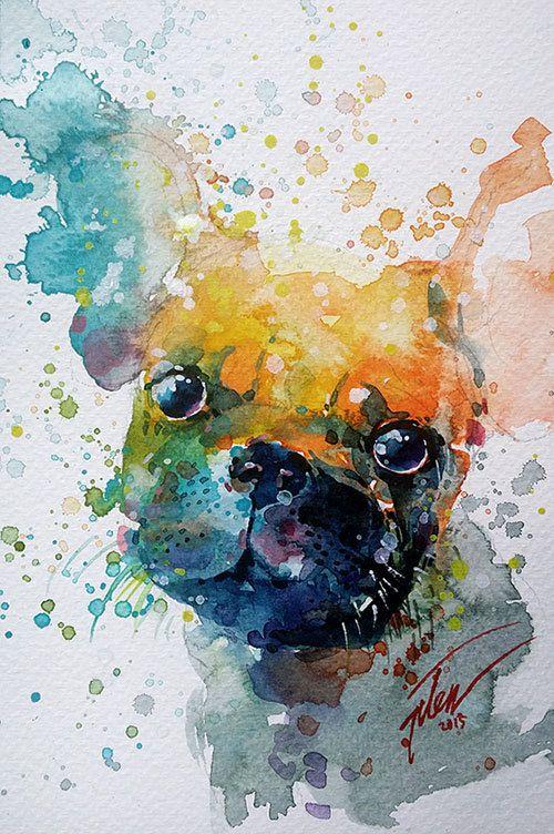 Bulldog original-Gemälde von Tilen Ti Aquarell mit gouache 5,24 x 7,87• 13,3 x 20 cm