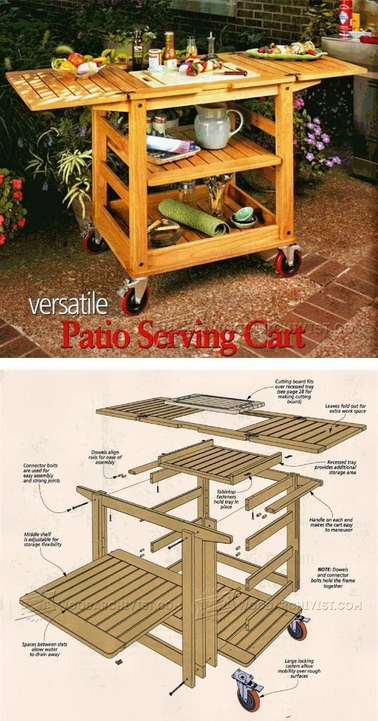 Patio Serving Cart Plans - Outdoor Furniture Plans and Projects | WoodArchivist.com