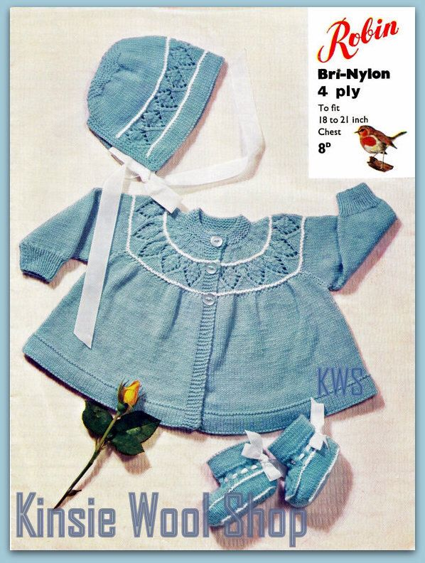 Vintage 70's Knitted BABY Coat, Bonnet & Bootees - PDF Pattern - UK - Instant Download by KinzieWoolShop on Etsy https://www.etsy.com/listing/183355007/vintage-70s-knitted-baby-coat-bonnet