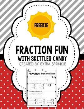FREE Skittles Fraction Activity #freemath #freedownload #mathcenter #mathcenters #fractions #halloweenmath