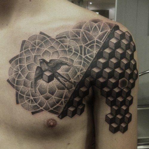 bird in fractal tattoo chest