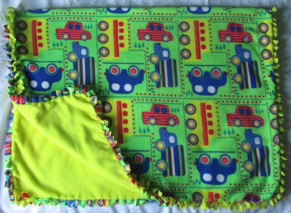 Cozy Vehicle fleece tie blanket /baby by BriersBlankets on Etsy