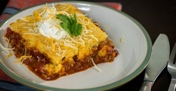 Oven-Baked Chili Cornbread Casserole - chili was surprisingly good, but made enough to fill a 9x13 and needed 2 boxes of cornbread mix. Will freeze half the chili next time to make a smaller pan, it was no where near as good reheated