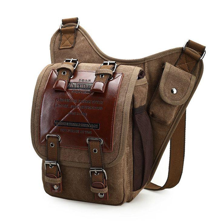 Brand Retro Leather&Canvas Military Army Style Men Messenger Shoulder Crossbody Bag men male waist bag Zipper Bags