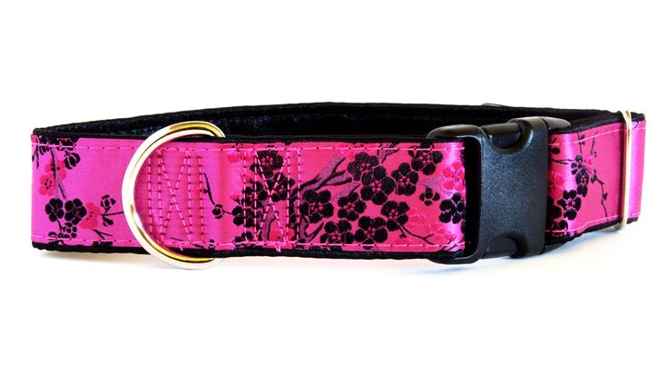 Cherry Blossom Pink Satin Dog Collar on sale now!