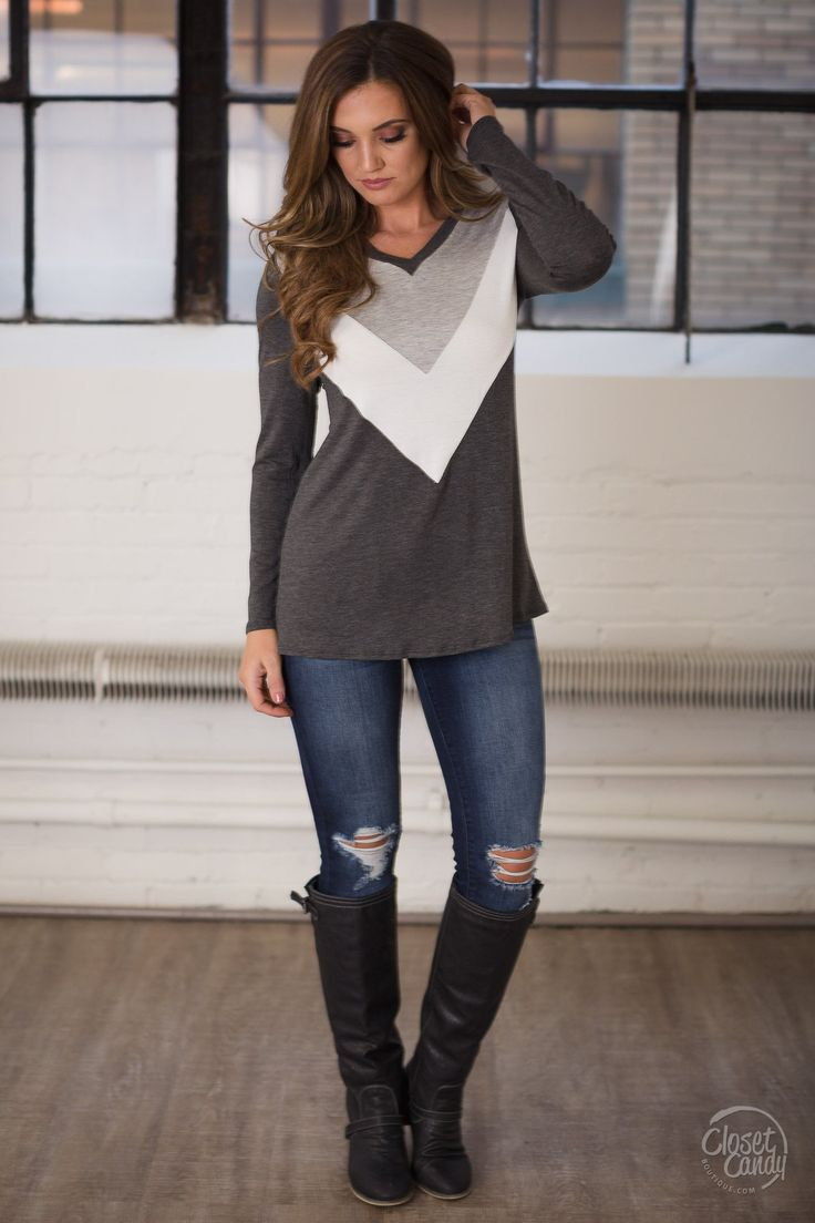 Give Me A Sign Chevron Top - $30