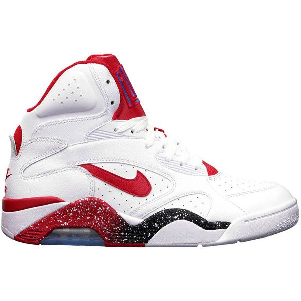 Nike Air Force 180 Mid 'White/Hyper Red-Photo Blue' Now Available ❤ liked on Polyvore featuring shoes, nike, sneakers and jordans