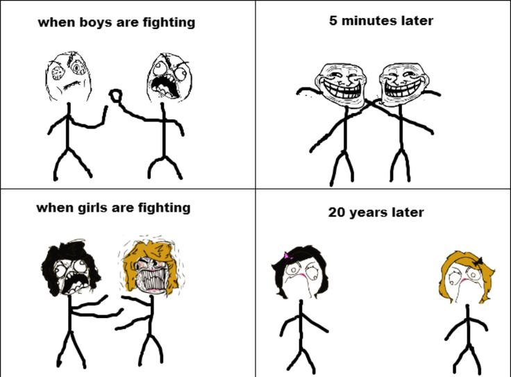 Girls vs Boys Fighting-- Hahahahaha!!  that's because we don't throw down and get it out of our systems like guys do!