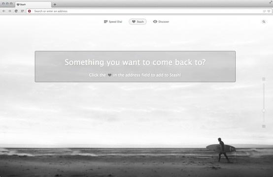 Pantalla Stash de la nueva  versión el navegador Opera (primera versión basada en Webkit) para Mac Os X