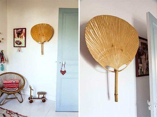 pale mint door and rattan Acapulco chair via the socialite family. / sfgirlbybay