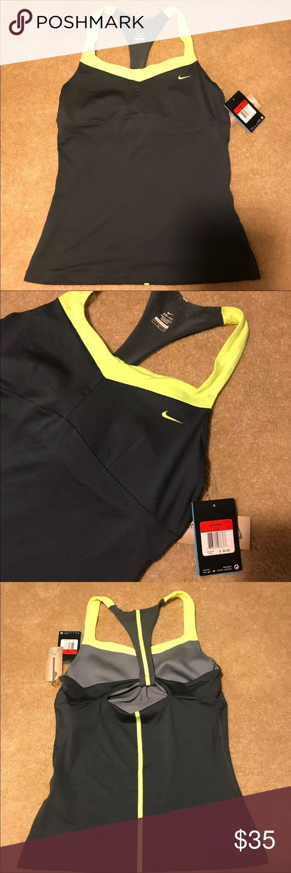 Nike Tank Top Nike tank grey/highlighter yellow. New with tags! Size large Nike Tops Tank Tops
