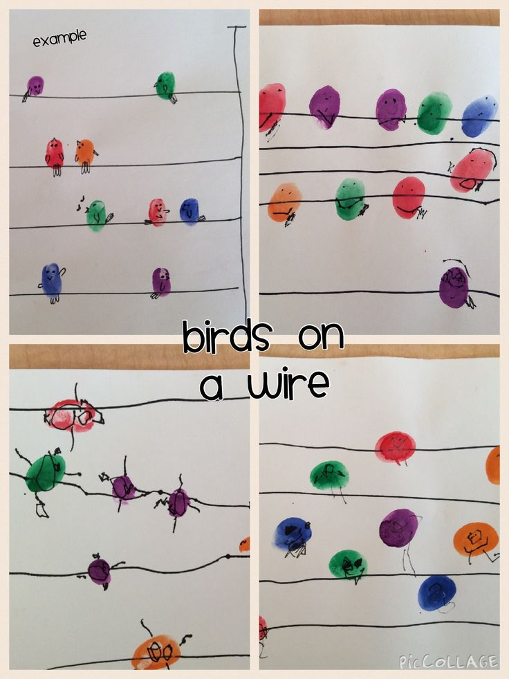 Birds on a Wire: Sharpie, tempera paint, white construction paper  Draw lines, stamp fingers, draw details.  Great fine motor, visual motor, visual spatial, pre printing skills.