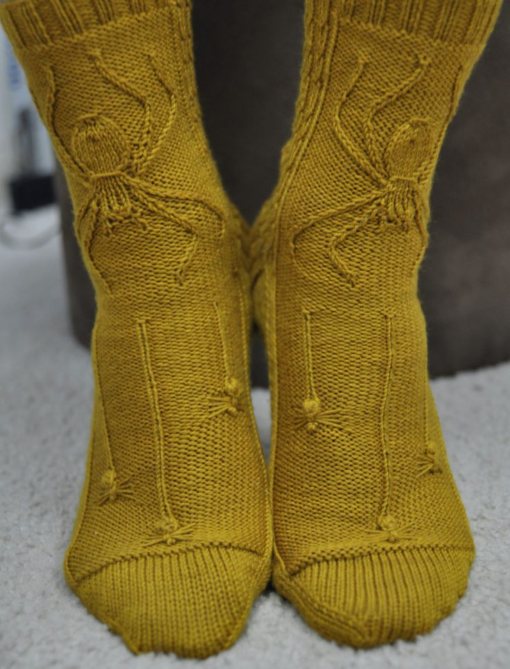 Free Knitting Pattern for Spider Socks - Terri Knight adapted Barbara Walker's large spider pattern for these socks. Pictured project by kitman