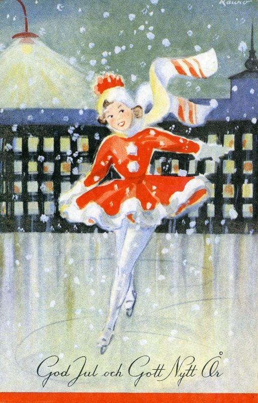 God Jul och Gott Nytt År #joulukortit #Christmascards #luistelu #skating
