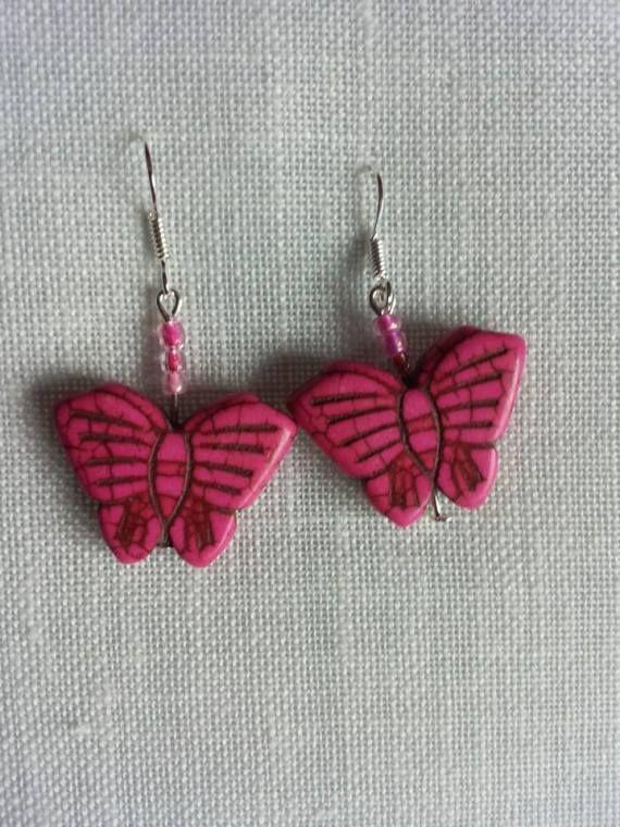 mariposa rosa, Bisutería, Pendientes