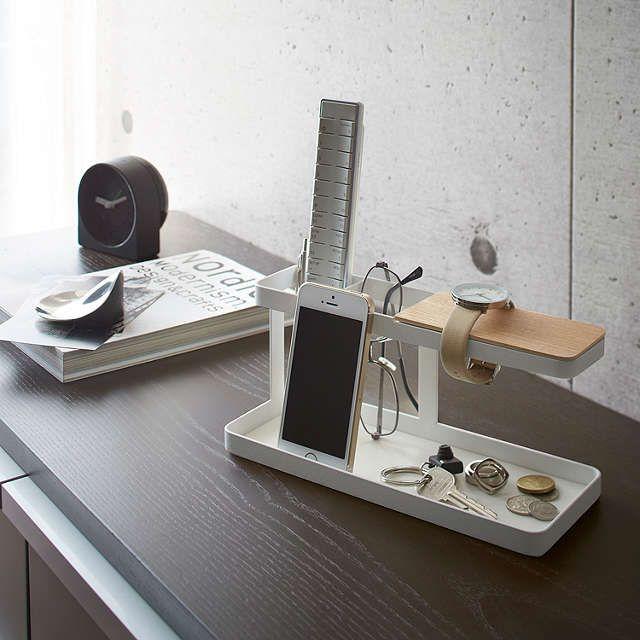 BuyYamazaki Tower Bar Desktop Storage, White/Light Wood Online at johnlewis.com