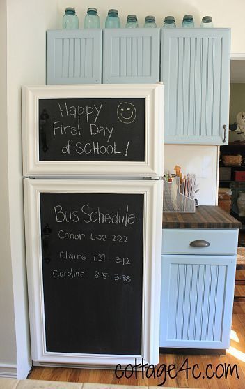 DIY:  Framed Chalkboard Panels for the Fridge - tutorial on how she attached the panels to the fridge.  I'm sure this same concept would work with chalkboard painted sheet metal - if you still wanted to be able to use the fridge to showcase the kiddo's creations.