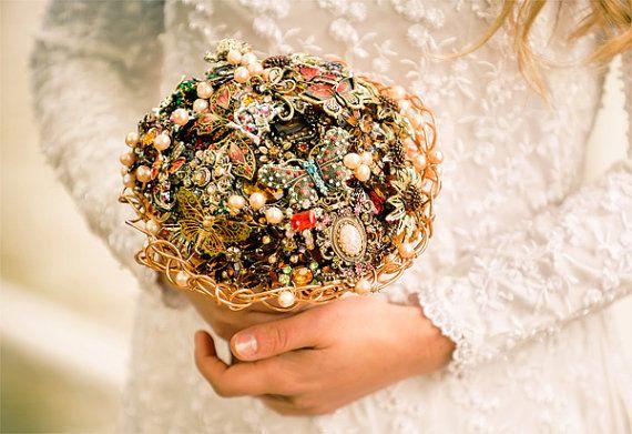 Bridal brooch bouquet BUTTERFLY wedding by hairbowswonderworld, £459.00