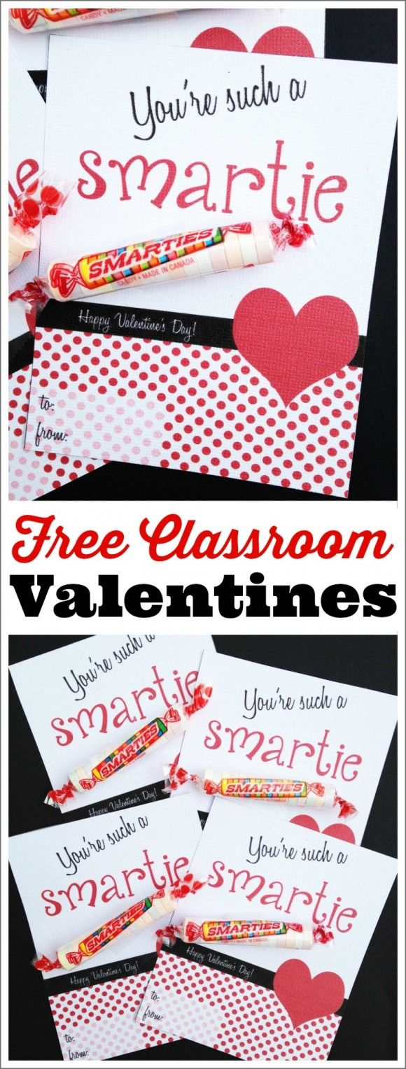 Free printable classroom Valentines. Just print out and add Smarties! Great way for your kids to say Happy Valentine's Day to friends and family. See more Valentine's Day idea at CatchMyParty.com.